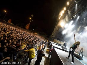 Iron Maiden fans in Colombia go crazy as the band belts out some of their favorites.