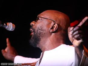 Singer Issac Hayes seen performing in the U.K. last year. Hayes was found dead Sunday at age 65.