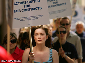 Screen Actors Guild members and supporters stage a rally in June at SAG's headquarters in Los Angeles, California.