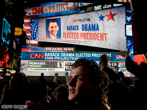 People watch election results on November 4 at the CNN Election Day viewing party in New York's Times Square.