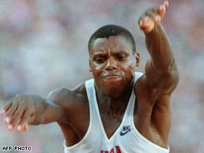 Lewis leaps to gold in Barcelona in 1992.