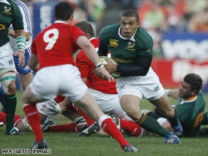Black players such as Bryan Habana typify the new multiracial Springboks.