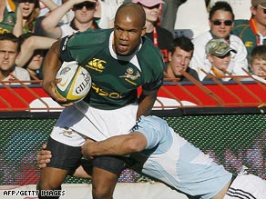 South Africa wing J.P. Pietersen went over for two of his team's nine tries against Argentina.