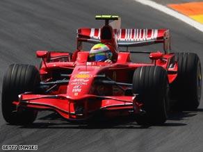 Massa celebrates his wire-to-wire win in Valencia.