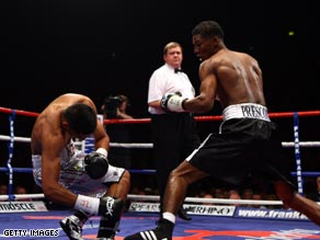 Khan's rise through the professional ranks comes to a halt as Prescott strikes in the first minute.