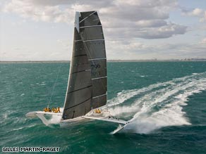 The flying yacht: French trimaran l'Hydroptere is closing in on two major speed sailing records.