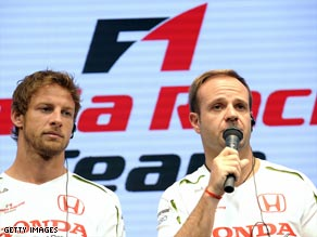 Jenson Button (left) and Rubens Barrichello will be out of a job if Honda confirm their F1 withdrawal.