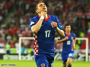 Klasnic celebrates his goal as Croatia maintained their 100 per cent record in their 1-0 victory over Poland.
