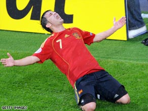 David Villa is currently top scorer at the Euros with four goals.