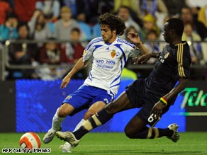 Aimar, left, in action for Real Zaragoza against Spanish champions Real Madrid last season.