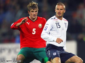 David Beckham, right, won his 107th international cap in England's 3-1 win away to Belarus.