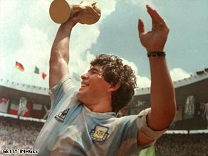Diego Maradona with the FIFA World Cup