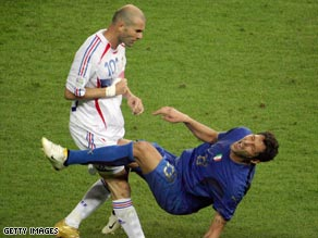 Zinedine Zidane lays out Marco Materazzi in the 2006 World Cup final.