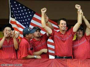 Soren Hansen of the European team reacts Sunday after missing a putt on the 17th green.