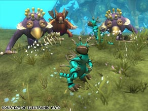 "Creatures designed by gamers, like these, are shown in a database on the ""Spore"" Web site."