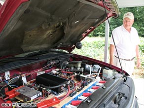 Batteries dominate the space under the hood of David Kennington's converted Honda.