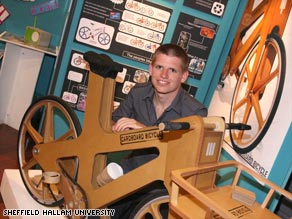University student Phil Bridge says his cardboard bike could last six months with everyday use.