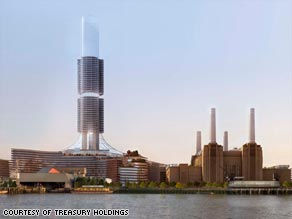 The redevelopment of Battersea Power Station includes a new eco-dome and a solar chimney.