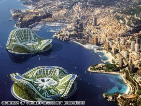 The Lilypad as imagined by architect Vincent Callebaut moored off the coast of Monaco.