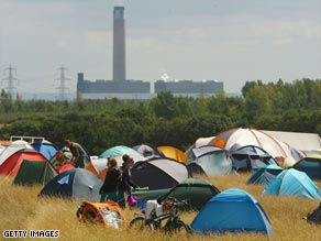 Protesters camping near the site of a proposed coal-fired power station in Kingsnorth, England.