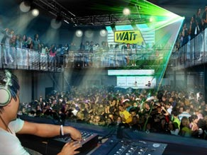 A computer-generated image of Club Watt, Rotterdam's human-powered club.