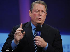 September 2008: Al Gore speaking at the Clinton Global Initiative in New York.