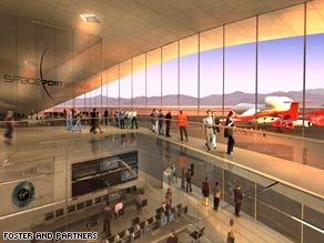 Elegant space: the interior of the proposed Virgin Galactic spaceport in New Mexico