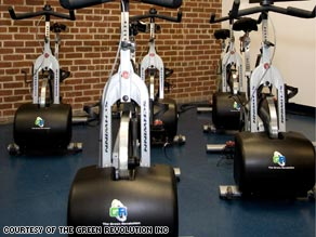 The Green Revolution device snaps on to the front of all major brands of indoor cycling equipment.