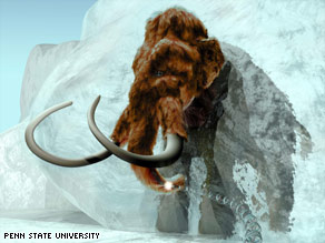 This drawing shows a prehistoric woolly mammoth linked to a strand of DNA and emerging from a block of ice.