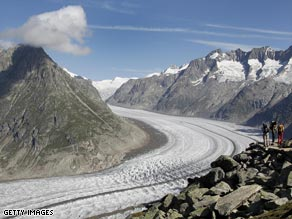 The Aletsch glacier in the Alps. Melting of mountain glaciers is accelerating worldwide.