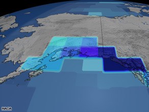 This image shows the changing rate of mass in mountain glaciers on the Gulf of Alaska.