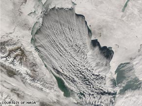 """Cloud Streets Across Caspian Sea"": one of many images available at NASA's Earth Observatory."