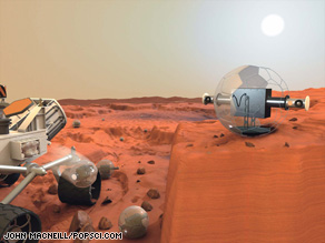 Round robotic sidekicks help NASA rovers scout Martian territory in this illustration.