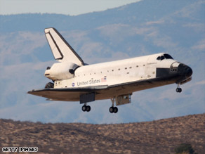 Space Shuttle Endeavour comes in for a landing at Edwards Air Force Base in California last month.