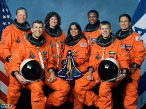 Columbia crew members were killed when the shuttle broke apart upon re-entering Earth's atmosphere.