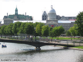 Old Montreal, seen from a pier at the port, has quaint narrow streets with a slew of restaurants and shops.