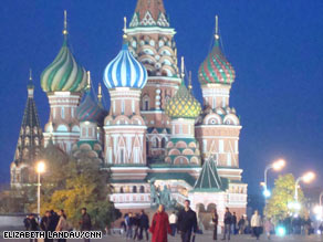 The iconic St. Basil's Cathedral in Red Square takes on a brighter, more colorful look at night.