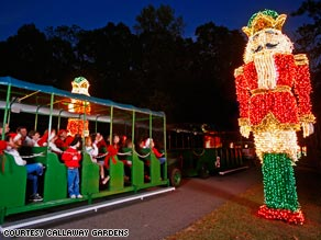 More than 8 million lights create dozens of displays at Callaway Gardens in Pine Mountain, Georgia.