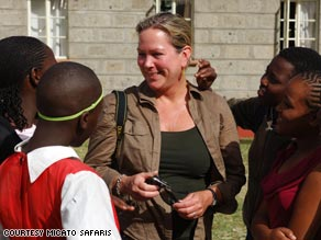 A visitor traveling with Micato Safaris meets a group of young Kenyans in Nairobi.