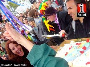 IReporter David Lytle says the mood was celebratory Monday outside San Francisco City Hall.