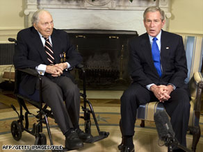 "President Bush, right, honors Frank Buckles, ""the last living Doughboy from World War I,"" in March."