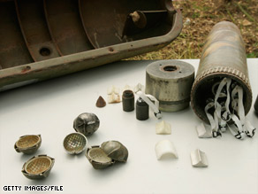 Parts of a cluster bomb can explode on the ground long after the bomb is fired.