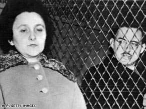 Ethel and Julius Rosenberg in 1953 in a New York police van shortly before their execution for spying.