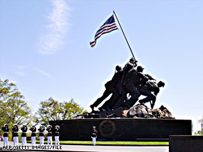 The Marine Corps War Memorial in Virginia depicts Strank and five others raising a flag on Iwo Jima.