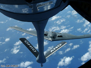 A KC-135 Stratotanker prepares to refuel a B-2 over the Pacific Ocean in an undated photo.