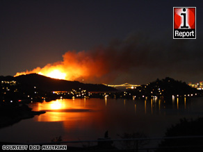 As of 5:30 a.m. Monday, the fire had crept over the top of Mount Livermore on Angel Island.