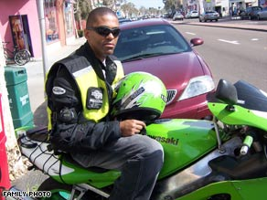 """Despite crashes, Gunnery Sgt. Art Tucker rides a sport motorcycle. """"I enjoy it. ... It relaxes me,"""" he says."""