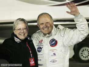 Fossett, seen here with his wife, Peggy, disappeared after a solo flight in 2007.