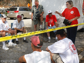 Volunteers prepare in the aftermath of Hurricane Ike in Galveston, Texas, in September.