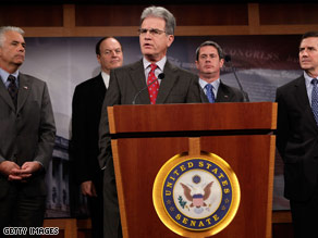 Sen. Tom Coburn, center, and other Republican senators raised objections to the auto bailout plan Wednesday.